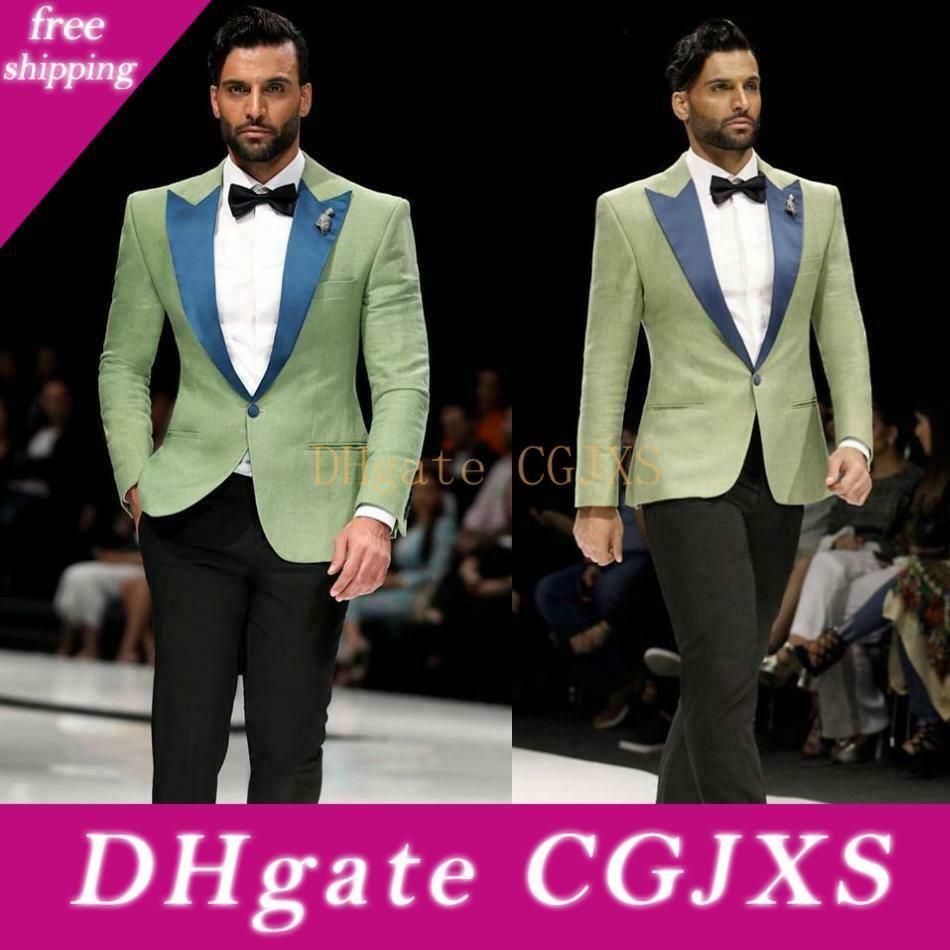 Classic Olive Green abiti uomo sposa Slim Fit One Blue Button risvolto sposo indossare smoking formale Jacket Prom Blazer (Jacket Pants)