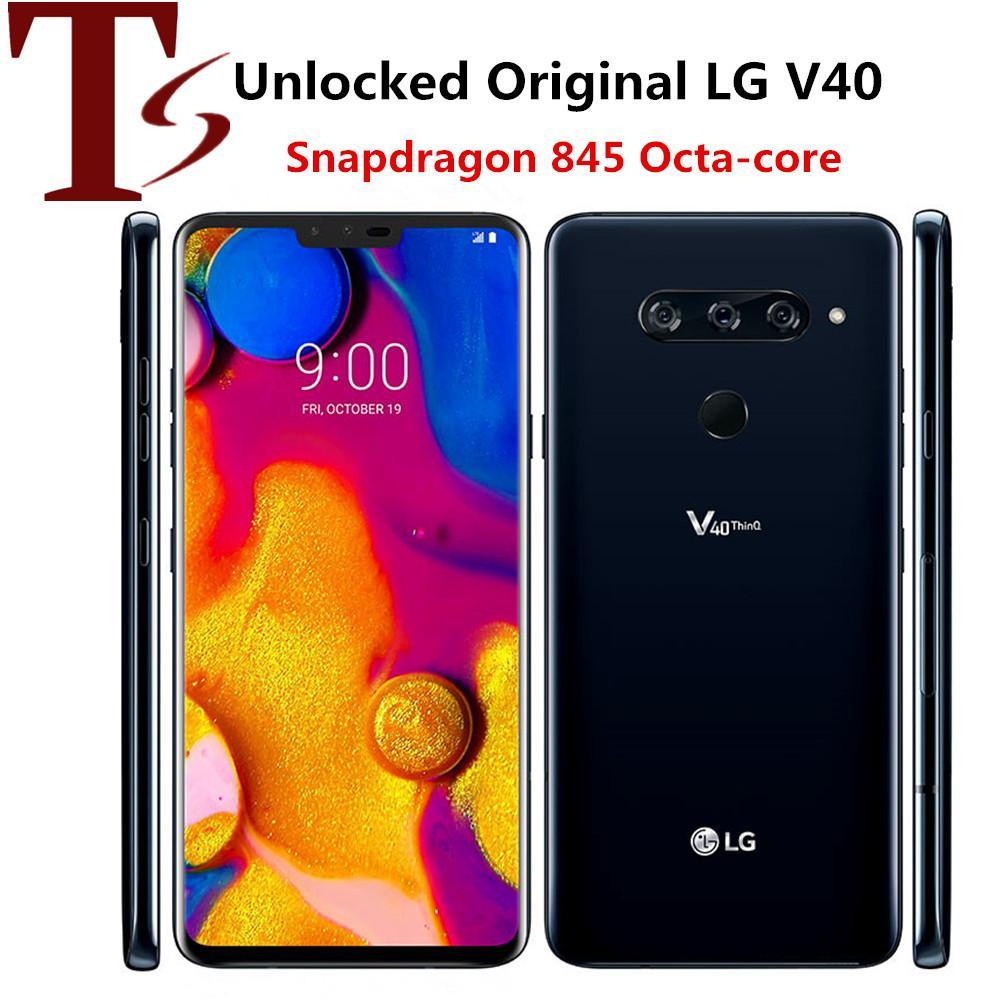 تم تجديده الأصل LG V40 شيء becouse لاني V405UA V409N V405EBW 6.4 بوصة الثماني الأساسية 6GB RAM 64 / 128GB ROM 3 + 2 كاميرات الروبوت 4G LTE الهاتف الذكي