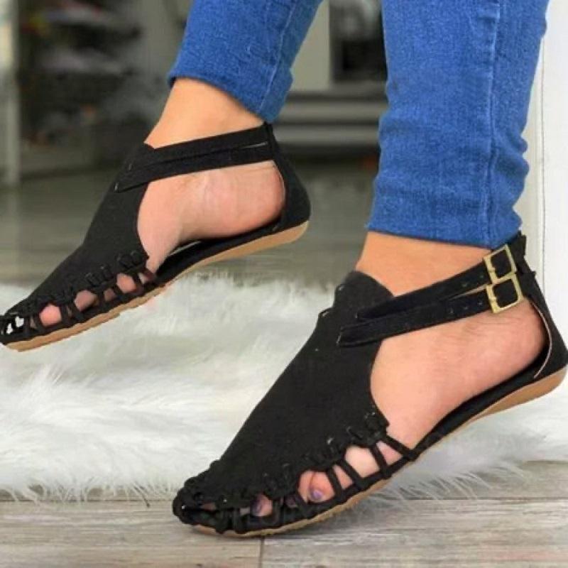 여름 여성 플랫 샌들 검투사 블랙 휴관일 정면 여성 신발 버클 스트랩 로마 비치 여성 샌들 Sandalias Mujer