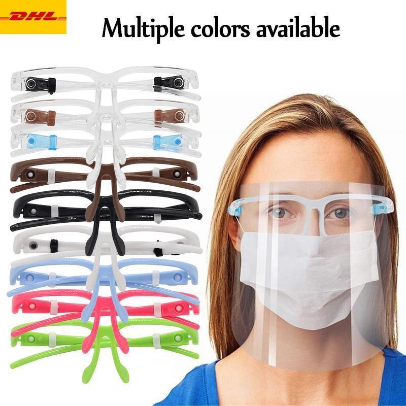 DHL 3-7 dias ao titular US PET Rosto Protetor Com Safety Glass Oil-à prova de respingos Anti-UV Capa protetora Máscara Facial de vidro Facial Transparente