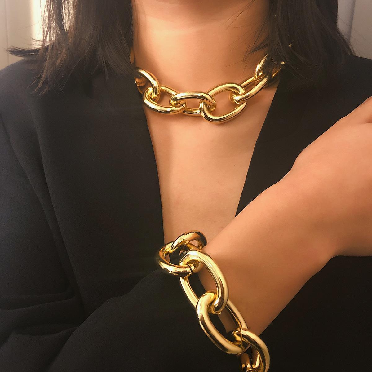 Exagerada cadena cubana grueso collares del ahogador de Declaración de joyería de la moda del collar de las mujeres Collier Mujeres Accesorios