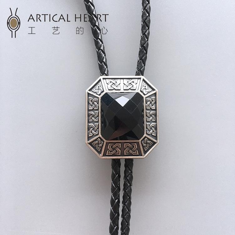 """Artical obsidiana \ """"Prisma \"""" naturales de plata chapado artical corazón bolo corbata bolo tie Obsidiana \ """"Prisma \"""" chapado en plata naturales del corazón 9DZUG"""
