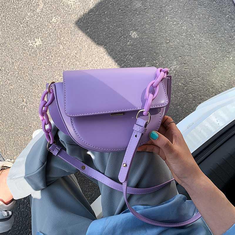 Kadınlara 2020 Yeni Kalite PU Deri Zincirler Omuz Messenger Çanta Lady Seyahat Çanta Ve Çantalar İçin Küçük Eyer Çanta