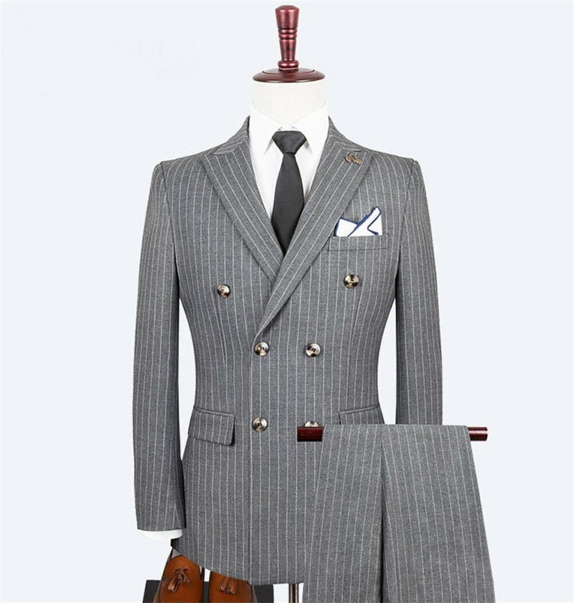 Pour 2020 de la raya del juego del Mens trajes de tres piezas de gran tamaño doble de pecho Valentino Multi Botón De Fumar Hommes