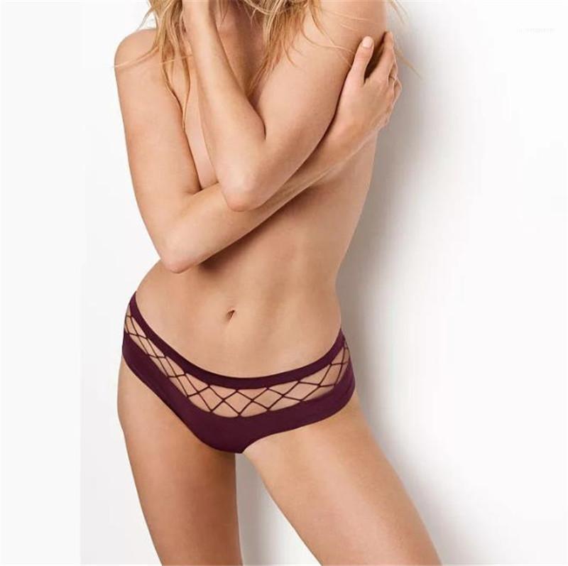 Out Frauen-Schlüpfer-beiläufige Stretchy Breathable bequeme Solid Color Unterwäsche Frauen mittlere Taille Höschen Sexy Hohle