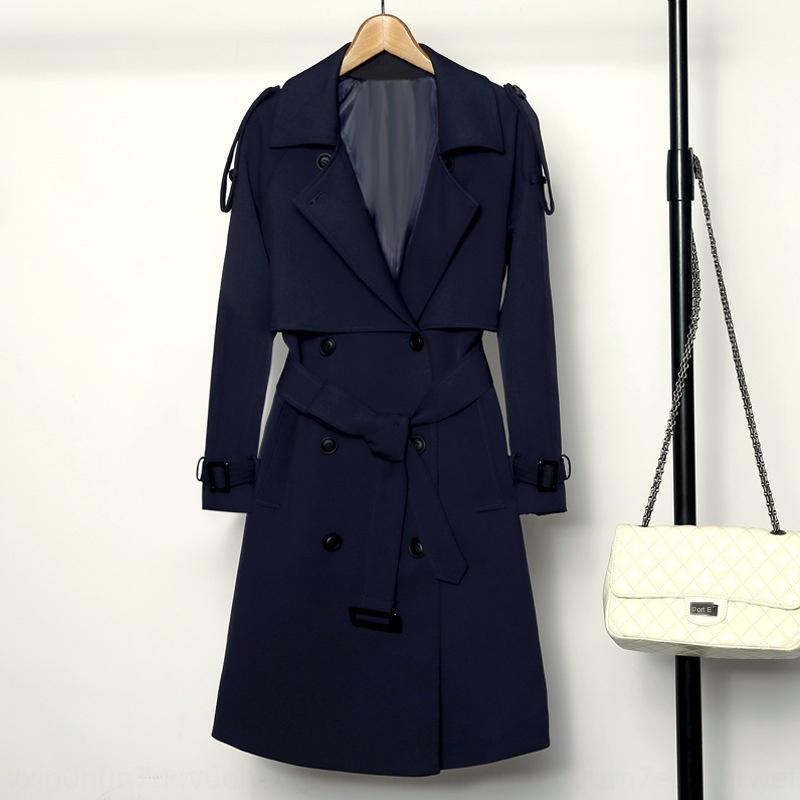 2020 molla e lunghezza media britannici slim-fit stile coreano delle donne cappotto giacca a vento del cappotto del windbreaker ginocchio sottile di autunno del nuovo delle donne cappotto ORH