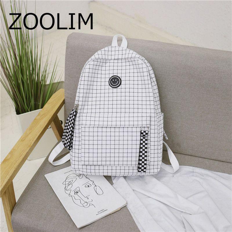 XIDIONE Harajuku kadın beyaz ve siyah ızgara sırt çantası, gülümseme ile seyahat bant, öğrenci tuval sırt çantası, çift omuz çantası, sırt çantası