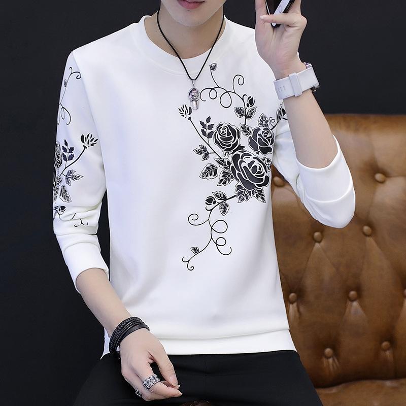 vZt4m Autumn manga comprida em torno do pescoço pulôver impresso espaço algodão juventude pulôver camisola coreana masculina Men Slim