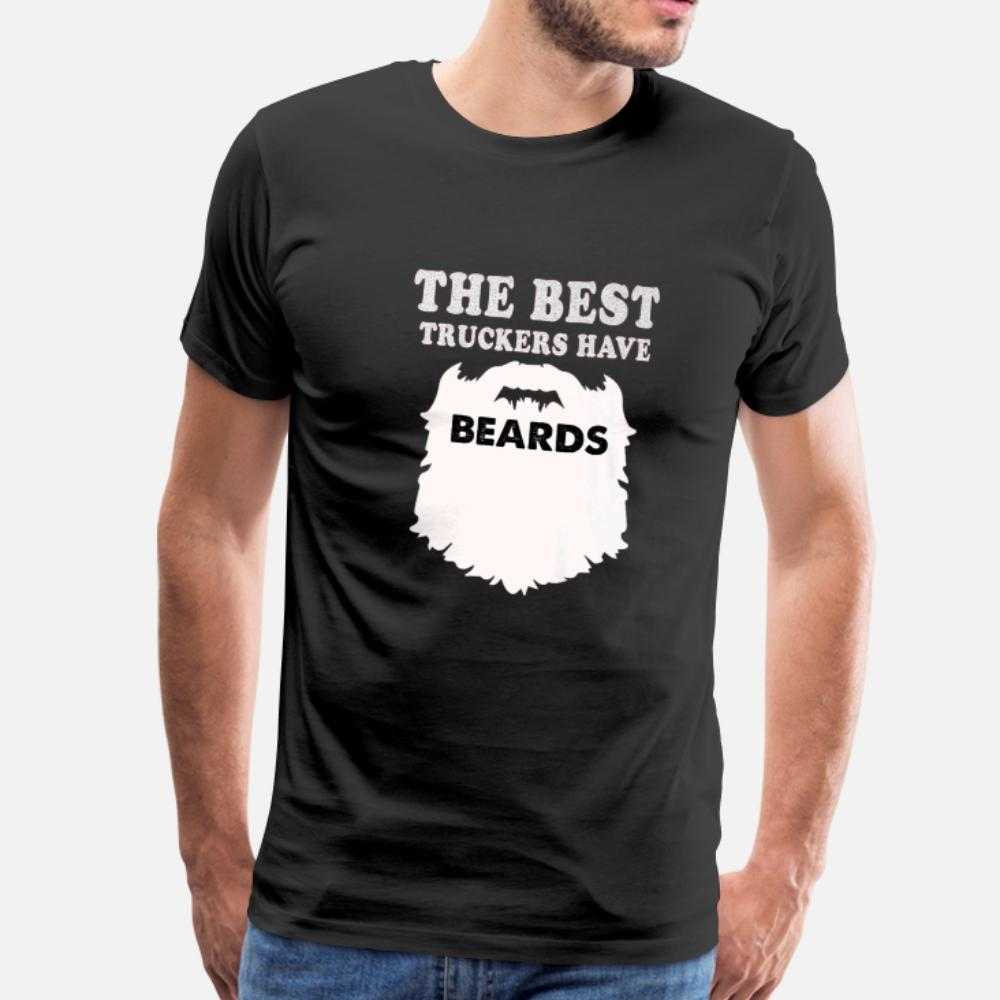 Лучшие Trucker Бороды Премиум подарков Грузовик тенниска мужчин Дизайн хлопок круглый воротник одежды Fit здание лето Оригинальная рубашка