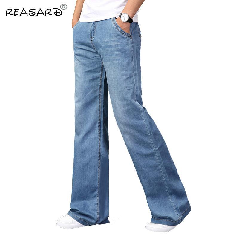 Compre Pantalones Vaqueros De Los Hombres 2019 Mens Modis Gran Acampanados Pantalones Vaqueros De Arranque De Corte En La Pierna Acampanada Loose Fit Alta De La Cintura Masculina Clasica Del Disenador Azul