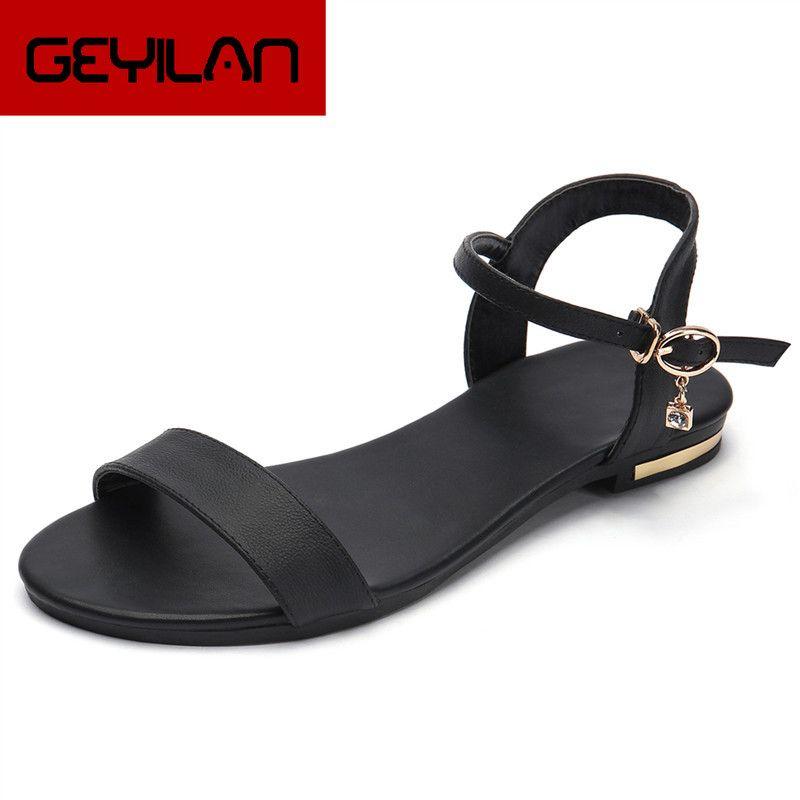 Plus Size 34-46 New couro genuíno sandálias mulheres sapatos da moda sandálias de couro de vaca sapatos de senhoras strass verão