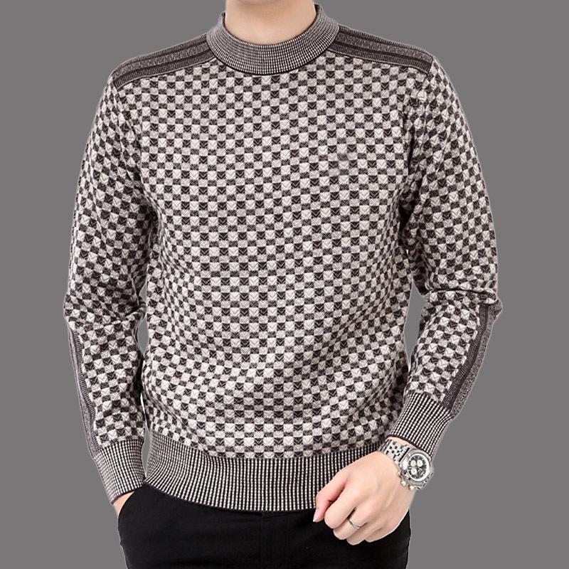 Autumn casual men's sweater wool 2019 splice slim Fit knittwear Mens sweaters pullovers men cashmere jacket MX200711
