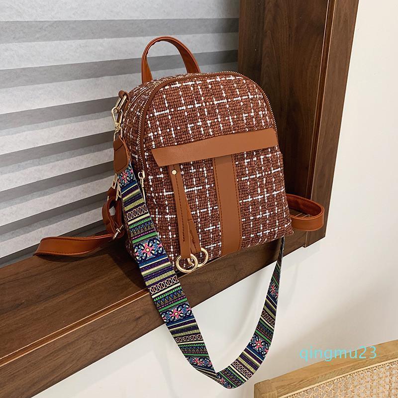 Дизайнер-зима шерсть женщин рюкзаки маленькие цвета широкий ремень женские сумки плеча мешок школы для девочек Рюкзаки рюкзака
