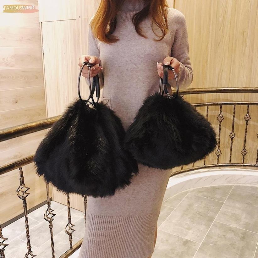 Borsa a tracolla Borse Bianco ragazze dolci Soft Black Faux Fur donne Tote Bags Fashion grande capacità di sera del partito di frizione borsa da viaggio