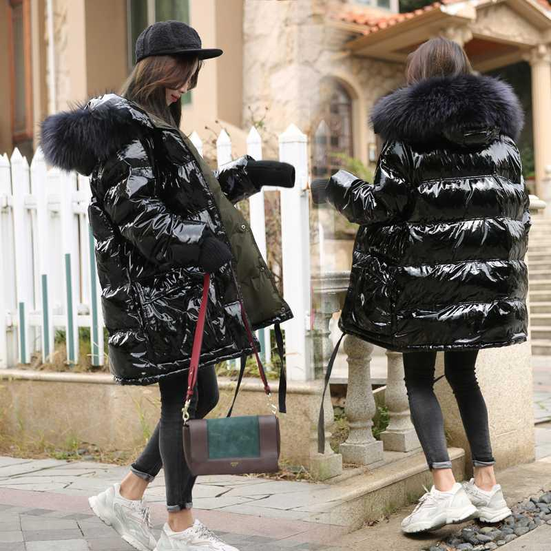 Big real Raccoon Fur Collar com capuz 90% Pato Branco Down Jacket Mulheres Grosso Quente Brasão Longo Inverno Jacket Mulheres Feminino soprador