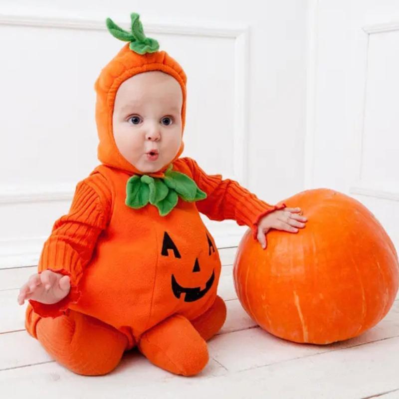 Устанавливает одежду младенческие мальчики для мальчиков для девочек одежда без рукавов Хэллоуин тыква с капюшоном ползунка тела + обувь наряд 3-24 м