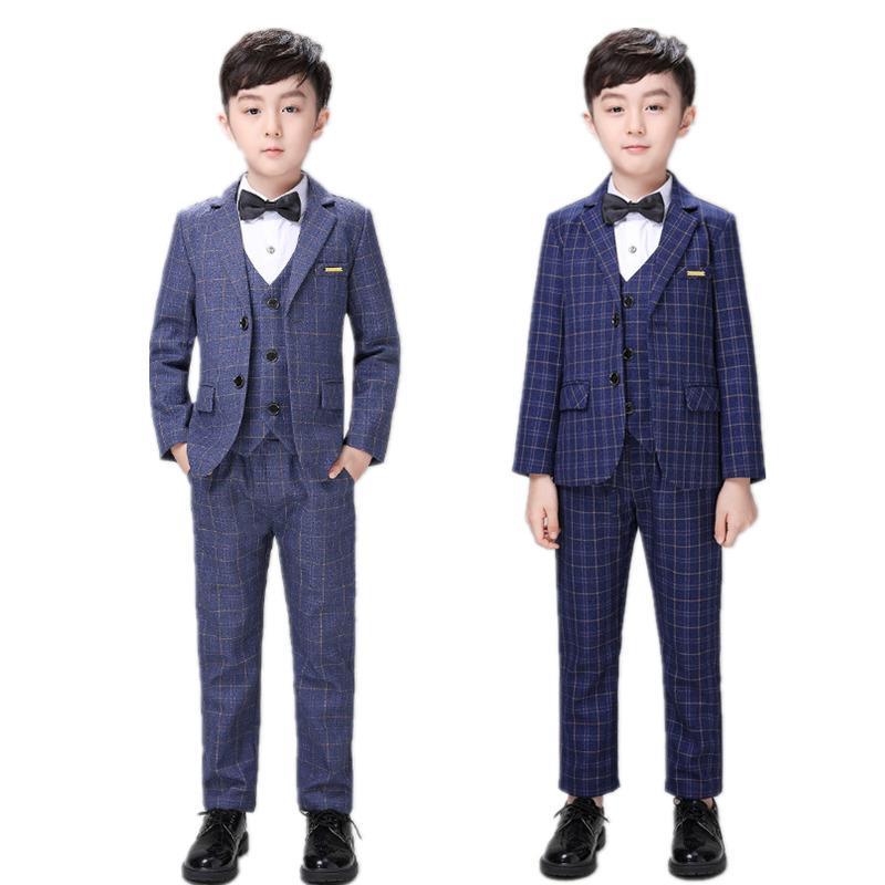 2-12Y Boys Blazer Vest Pants 3pcs Suit Set Fashion Boys Wedding Formal Suits Kids Tuxedo Dress Party Ceremony Costumes Clothes