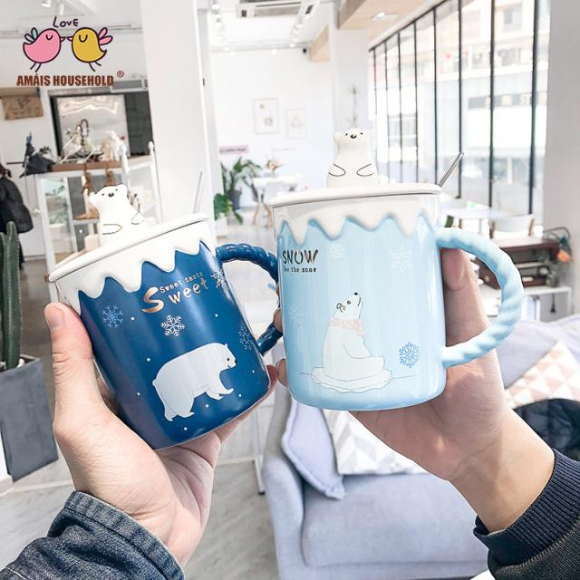 400ml Nordic Style Lovely Polar Bear and Golden Stars Coffee Mugs For Christmas Decoration and Gifts