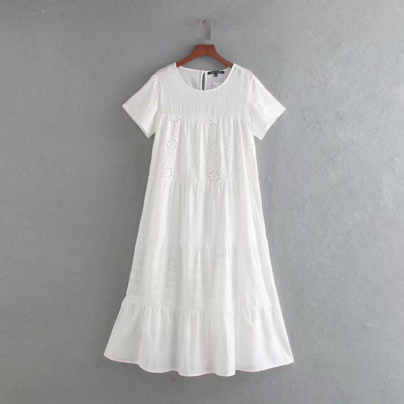 2019 del verano del nuevo cuello de volantes del vestido de las mujeres cs2nE bordadas hueca redonda Z9263 de las mujeres de vestir