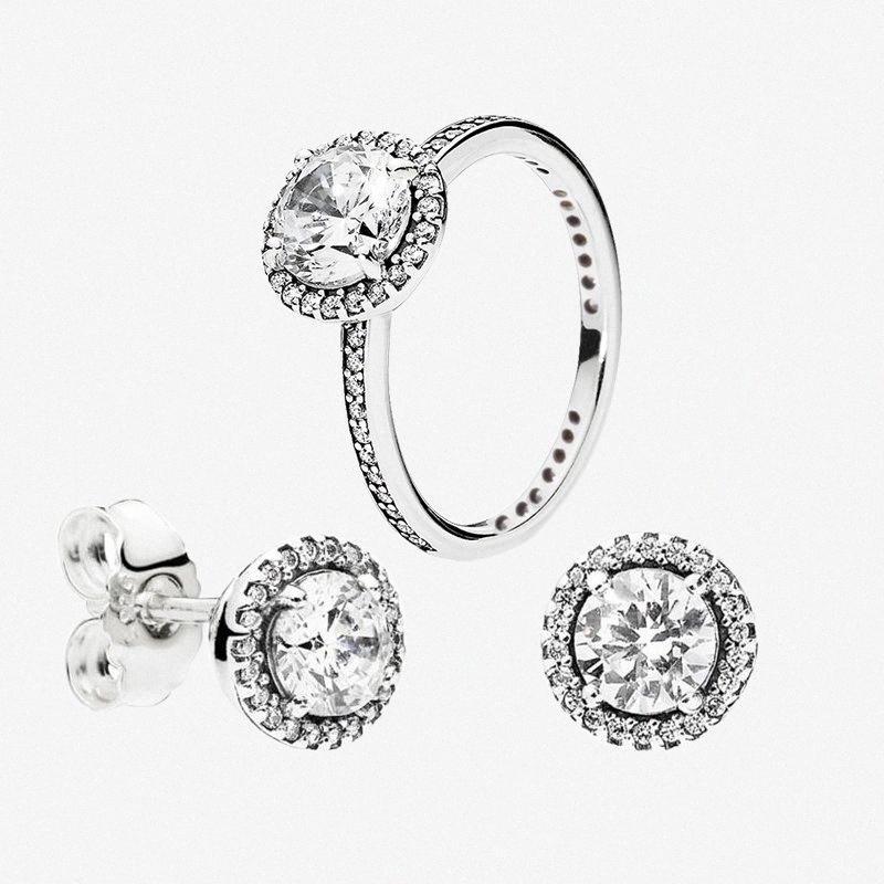 Большой CZ бриллиантовое кольцо и серьги наборы стерлингового серебра 925 для Pandora элегантный набор женские Обручальные кольца серьги стержня с Origin bxV4 #