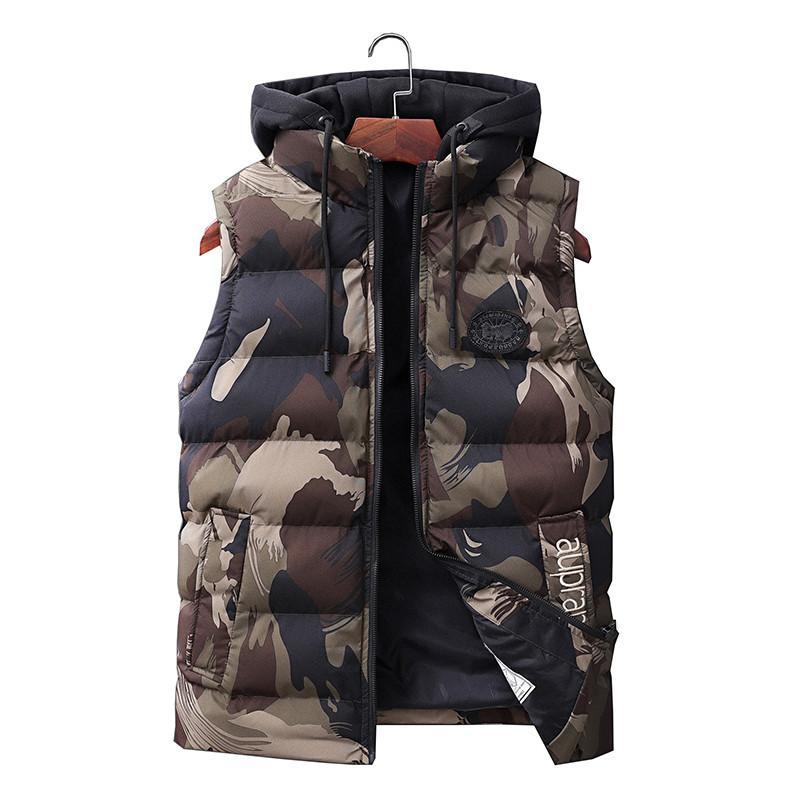 Männer Ärmel Jacke Slim Fit beiläufige warmer Westen Male Camouflage Mantel Weste Männer Weste neue Art und Weise Herbst-Winter