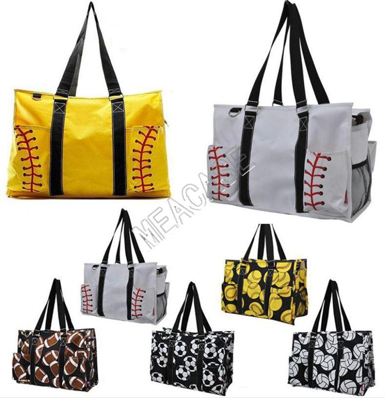 INS Softball Baseball Handbag Grande Designer Travel Bag Canvas Futebol Padrão Mulheres de compras Totes Sports Yoga Fittness Bolsas de Ombro D81311