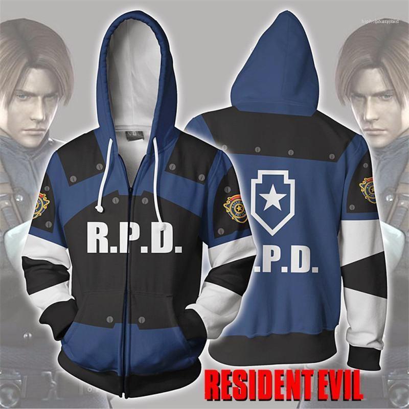 Mens Jackets R.P.D. Stampa Mens Zipper Fly cappotto Homme vestiti di modo Resident Evil Perpetual