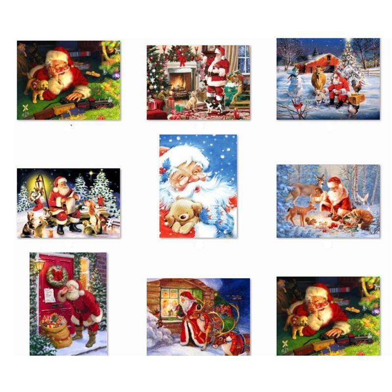 5D bricolage de Noël Plein Drill Kit peinture strass diamant Point de croix Père Noël Bonhomme de neige Accueil DHE1265