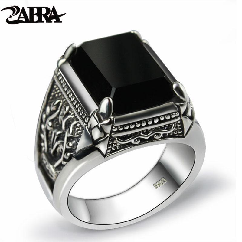 ZABRA reale 925 silberne schwarze Zircon-Ring für Männer Weibliche gravierte Blume Männer Art und Weise Sterling Thai Silber Schmuck Synthetische Onyx LJ200831