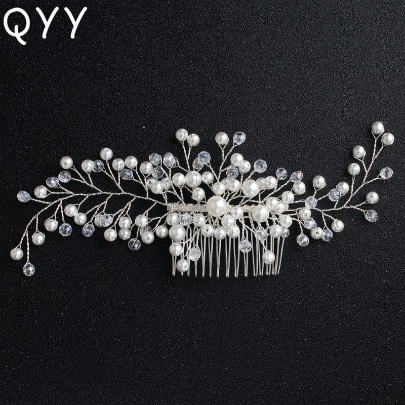 Зажимы для волос Barnettes Qyy Classic Pearls Combs Handmade Hairpins Pins Свадебные женские Ювелирные изделия Аксессуары Свадебные науки