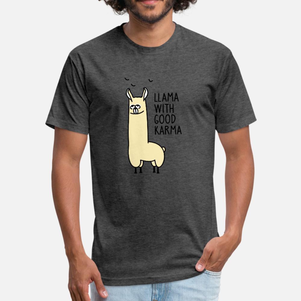 Llama buen karma camiseta hombres de la impresión 100% algodón de cuello redondo original Interesante Camisa divertida del ocio informal de verano