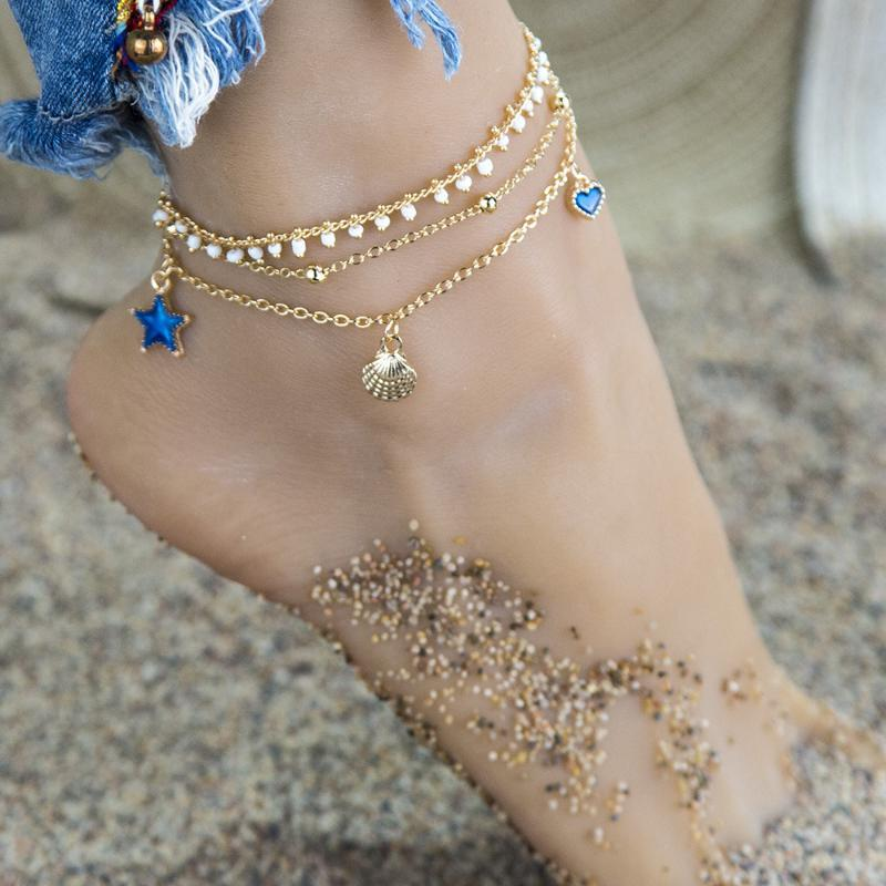 New Blue Color Oil Drop Starfish Seaside-Style Pendant Anklet Summer Creative Retro Simple Foot Ornaments