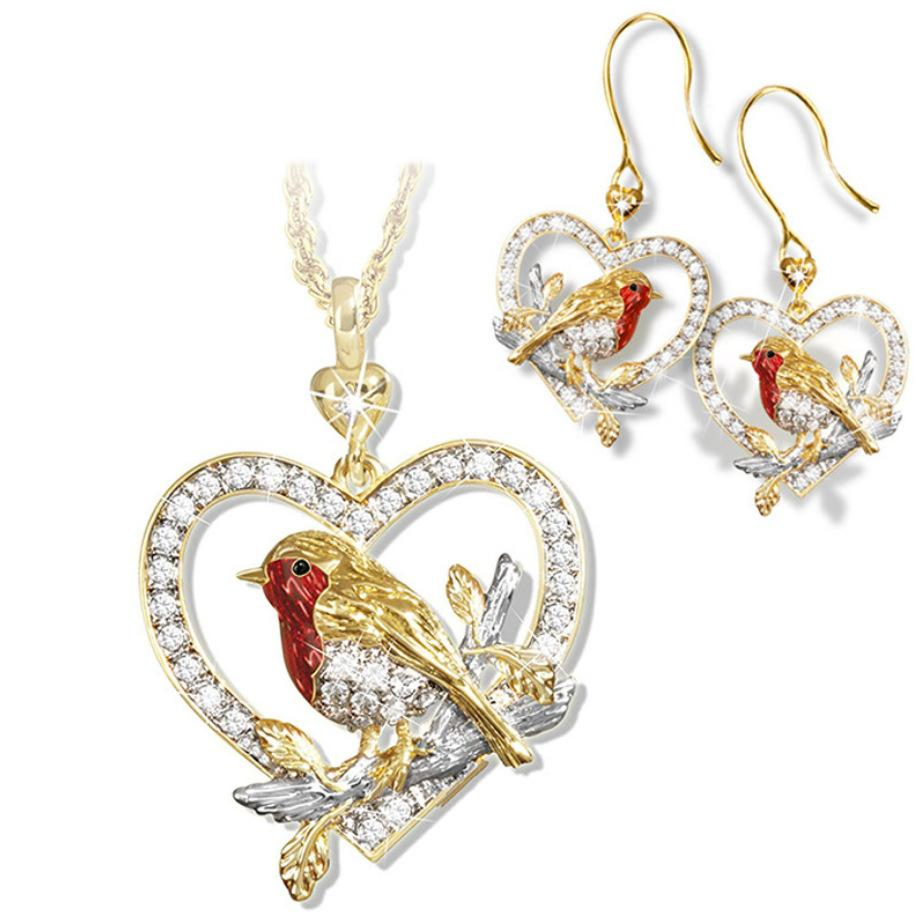 New Lovely Animal Bird Sparrow Heart-shaped Necklaces Set Hollow Love Red Women Pendants Alloy Crystal Gold Color Clavicle Ring and Earrings