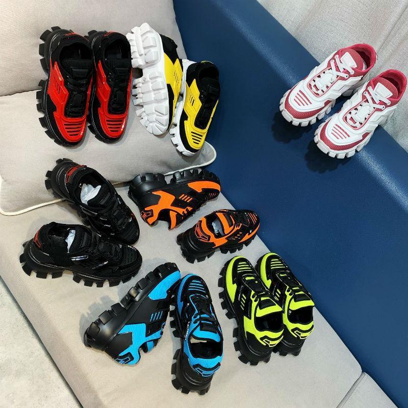 2020 مصمم أحذية اتس Prada Cloudbust الرعد الرباط حتى أحذية مصمم أحذية رياضية 19FW سلسلة كبسولة منصة مطابقة الألوان الفاخرة في الولايات المتحدة 5،5 حتي 11