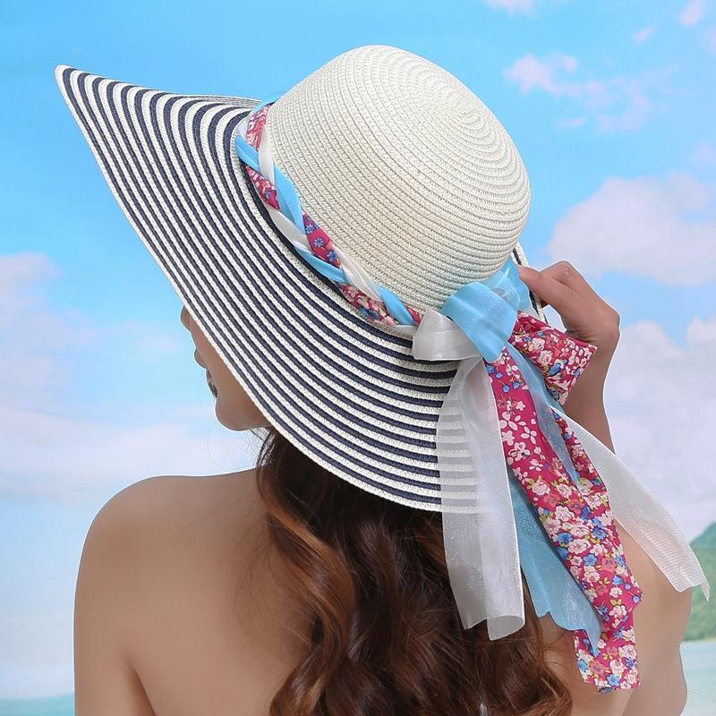 xgqgT Yaz Kadın güneş sahil turizm tatil kap kap Straw düz büyük saçak hasır şapka düz Doğranmış şapka Dome katlanır plaj pruva
