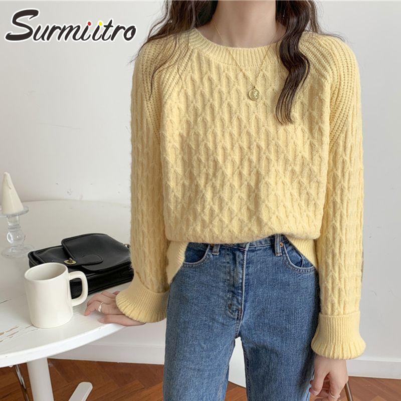 SURMIITRO корейский стиль осень зима свитер Женщины 2020 Зеленый Синий Желтый дамы с длинным рукавом Перемычка пуловер Женский трикотаж