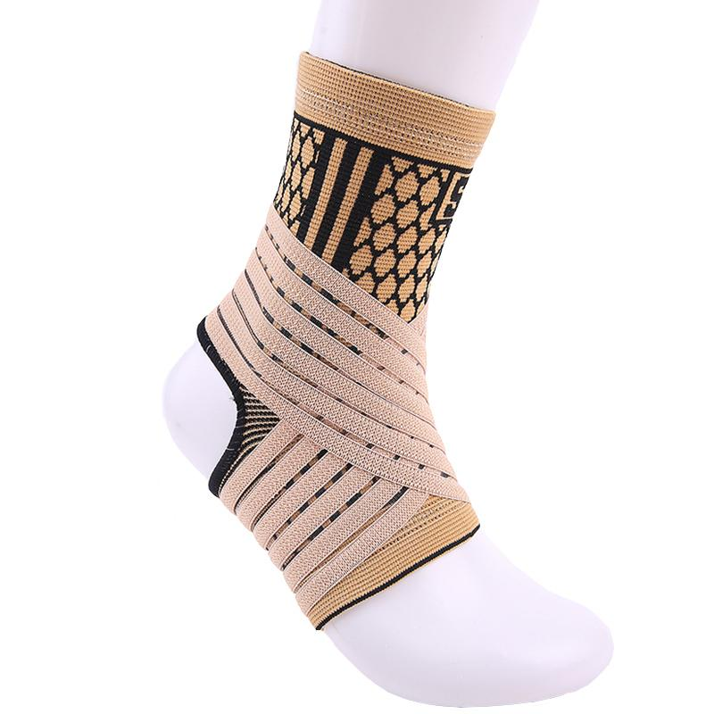 High elastic bandage compression knitting sports protector basketball soccer ankle support brace guard cream-colored 1pcs#ST3779