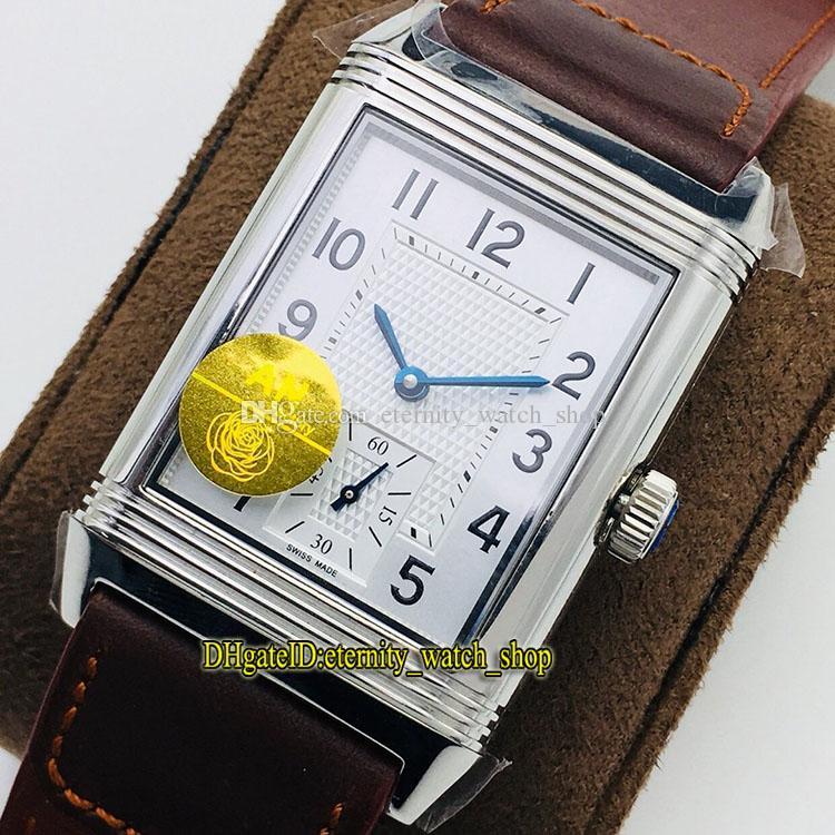 Top-Versão Anf Reverso Flip em ambos os lados Dual Hora Fuso 2438522 Dial Branco Cal.854A / 2 Mecânica Mão-enrolamento Mens Relógios Flip Watches 0011