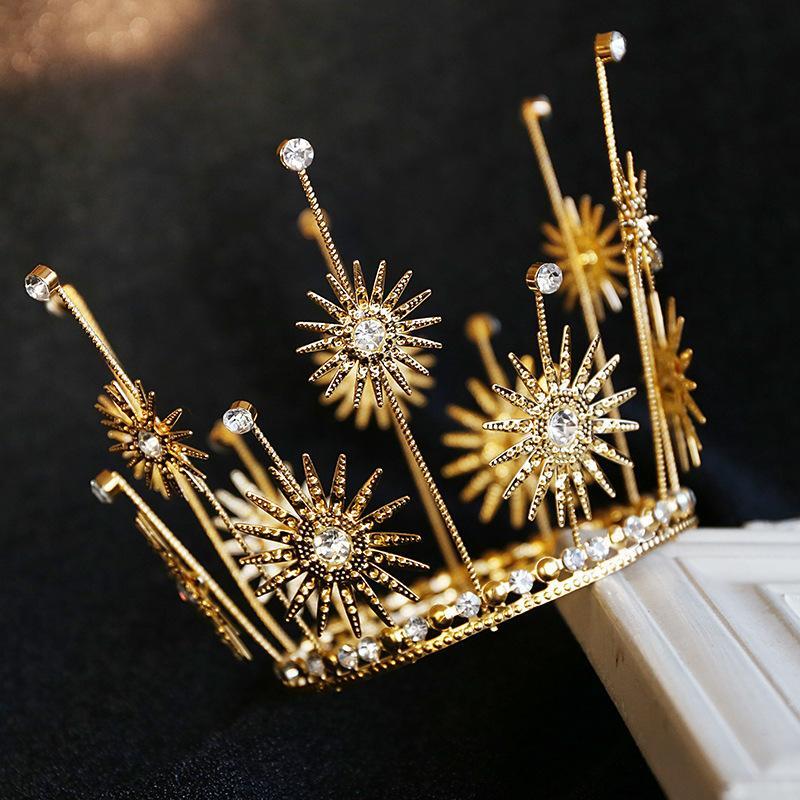 Y200807 joyería hornada de la torta de cumpleaños de la flor de Sun del hierro redondo de la decoración del Rhinestone Tiara corona de la reina de novia