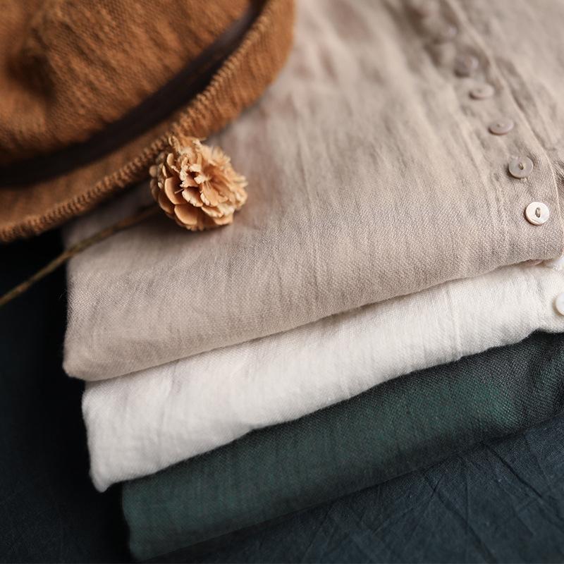v8E1V allentata estate nuovo casuale sleeveless di colore solido bambola fungo biancheria artistico basamento superiore della camicia colletto della camicia Doll 2020 top