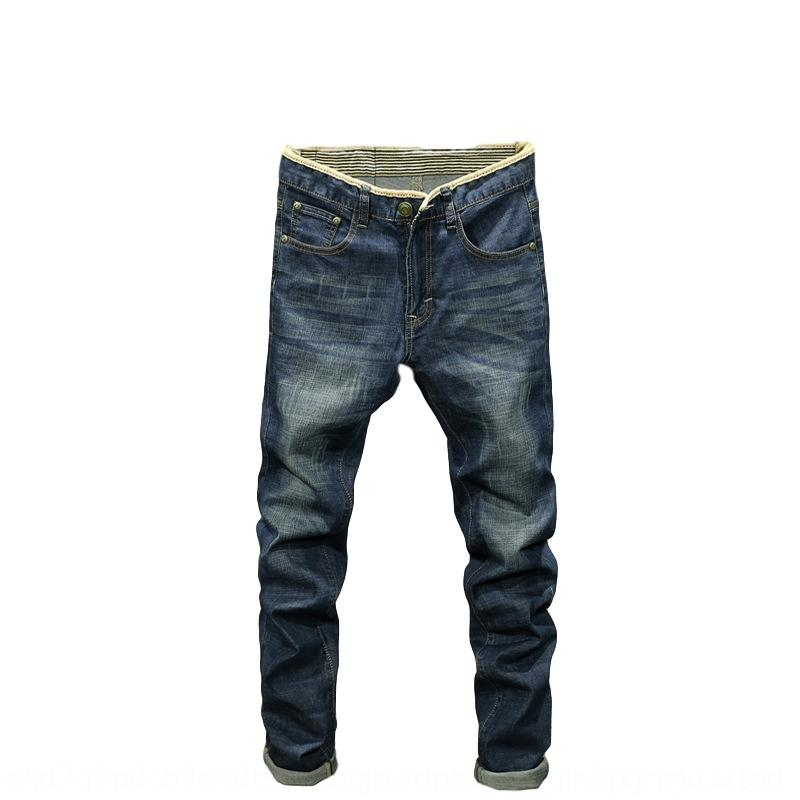 86MqS nova juventude calças jeans Casual calça jeans calças tamanho grande calças retas dos homens Slim Fit casuais calças compridas dos homens outono