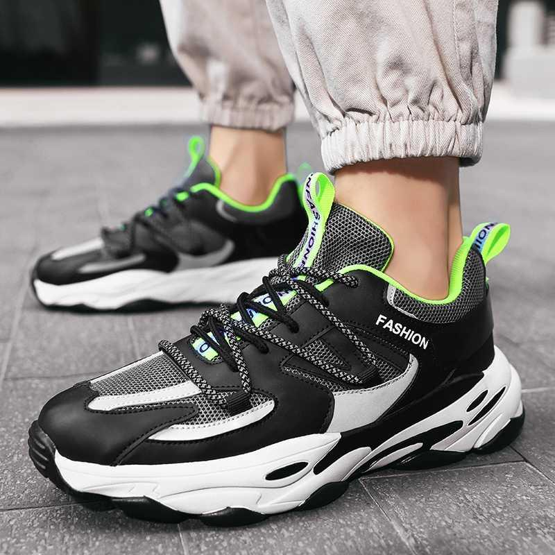 Zapatos ocasionales de los hombres del estilo de tendencia ocio al aire libre calzado transpirable inferior grueso atan para arriba las zapatillas de deporte Joker simples de mesa al aire libre