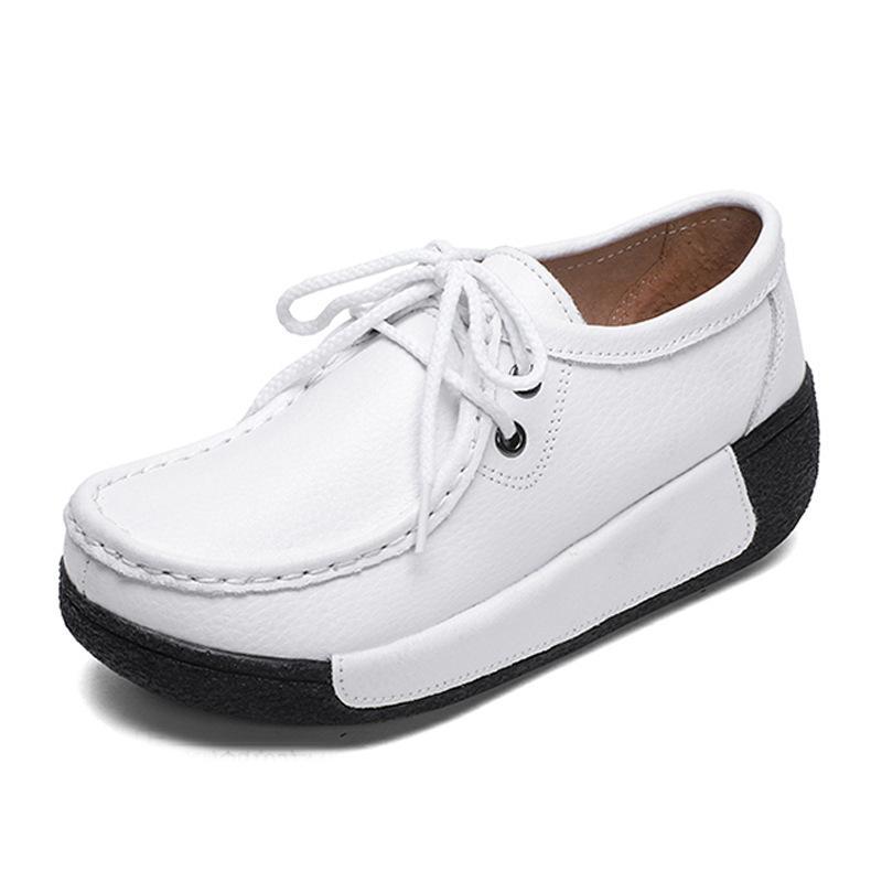 Mulheres de couro confortáveis única forma meninas lazer as ms hermético sapatos respirável sapatos de couro pode ordem de maioria