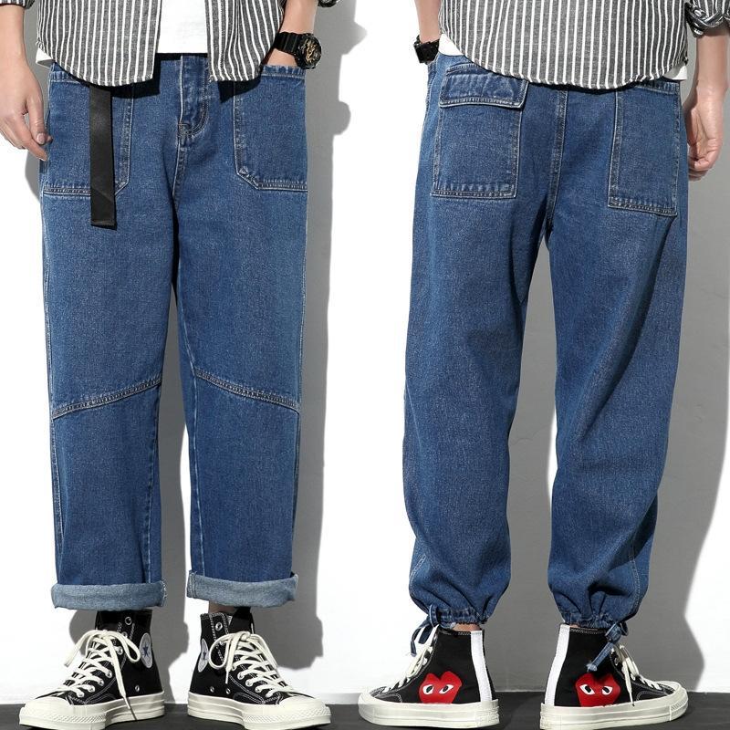 zE2Xw jeans hommes à jambes larges été et jeans lâche, plus gras grand pantalon droit pantalon papa lavé à la mode marque