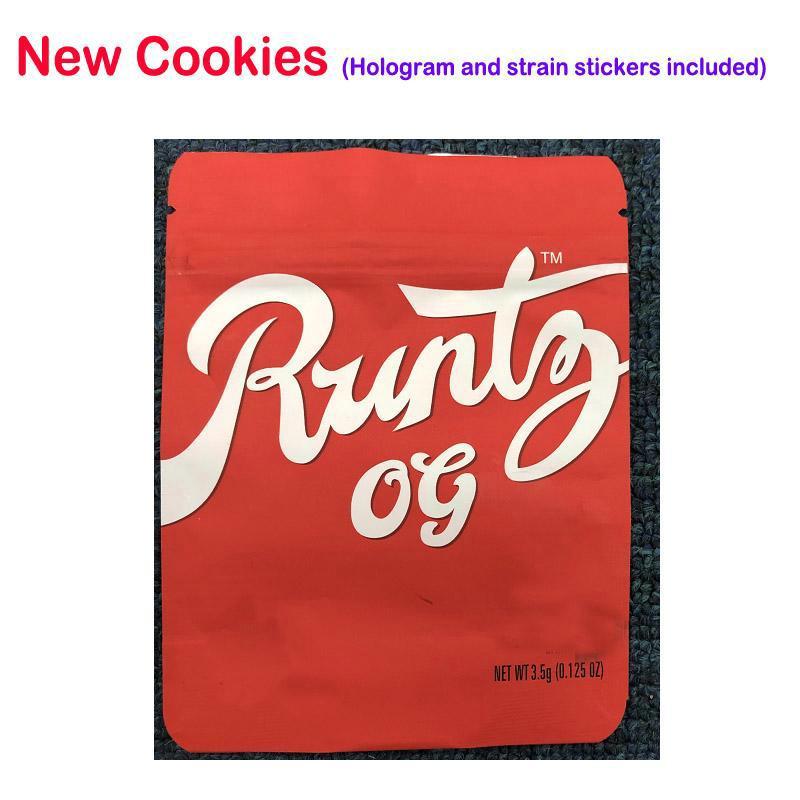 Etichette Runtz richiudibili Borse Rosa Con Heatseal 100 impermeabile agli odori autenticità 35g e confezionare olografico Sticker Ziplock Mylar Borse uZVVG