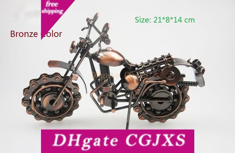 Handmade бронзового цвета и серый металл модель мотоцикла Игрушка для малышей Люди подарок на день рождения