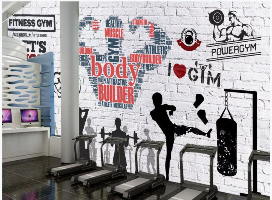 WDBH 3d papel de parede personalizado foto parede imagem Tijolo exercício parede fitness club sala de decoração para casa murais de parede papel de parede 3D para paredes 3 d