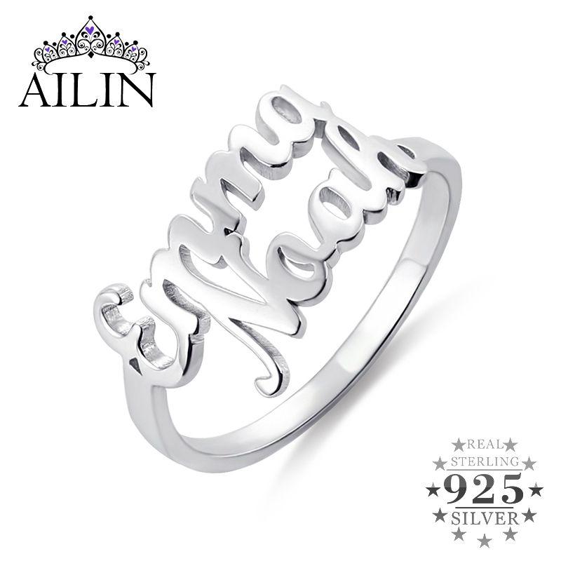 Ailin argent 925 anneaux en or 18 carats plaqué Couple Lovers personnalisés Deux noms anneaux de mariage pour les femmes Bijoux personnalisés cadeau