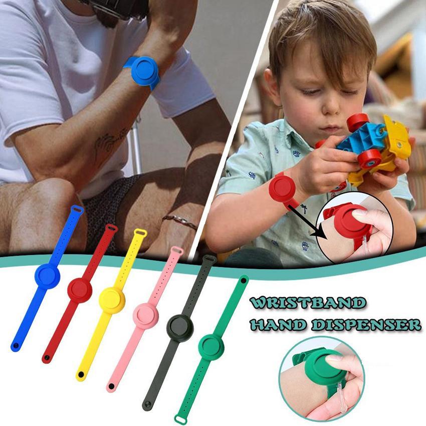 26 * 4 cm pulsera de la mano del dispensador Kid Adult Silica Gel desinfectante de la mano de dispensación Dispensador usable Bombas Desinfectar Mano banda reloj de CYZ2716