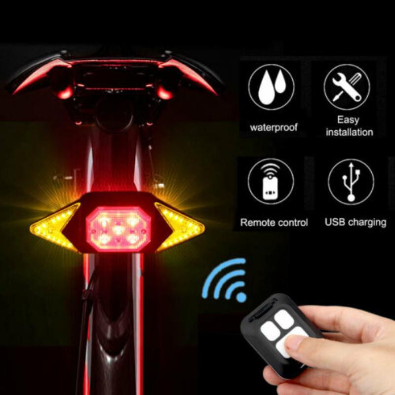 Bicicleta luzes de bicicleta USB cauda de bicicleta Indicador LED traseira da bicicleta Laser Vire sinal de luz remoto sem fio acessórios de bicicletas